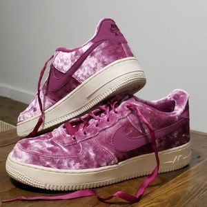 Magenta Velvet Nike Air force One's